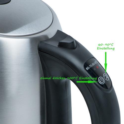 1,7 Liter Edelstahl Wasserkocher mit Temperaturwahl un ~ Wasserkocher Mit Temperaturwahl