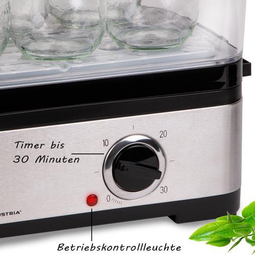 1200 Watt elektrischer Edelstahl Dampfgarer 6 L Reisschale 30 Min Timer schwarz